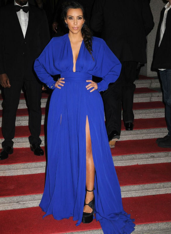 Kim Kardashian Blue Dress Double Slits Prom Celebrity Cocktail Dresses Angel Ball Party Ball Gown