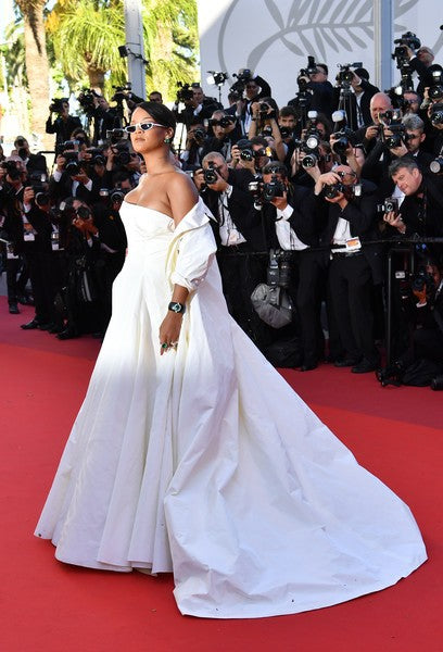 Rihanna Strapless Dress Cape Sheer Prom Celebrity Formal Dress Cannes Red Carpet Ball Gowns