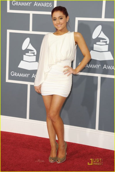 Ariana Grande White Short Dress Round Neck Ruffled Prom Celebrity Formal Dress 53rd Annual Grammy Awards Red Carpet