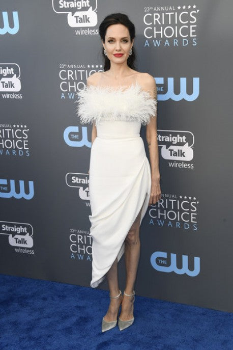 Angelina Jolie Feather Dress White Strapless Critics' Choice Awards Red Carpet Celebrity Dress