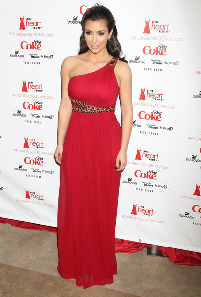 Kim Kardashian Red Dress One Shoulder Prom Ball Gown The Heart Truth's Dress Collection Celebrity Dress