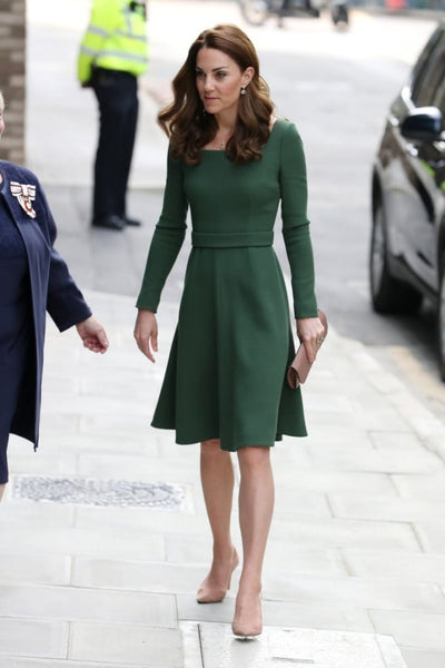 Kate Middleton Green Dress Knee Length Square Neck Modest Prom Evening Dress