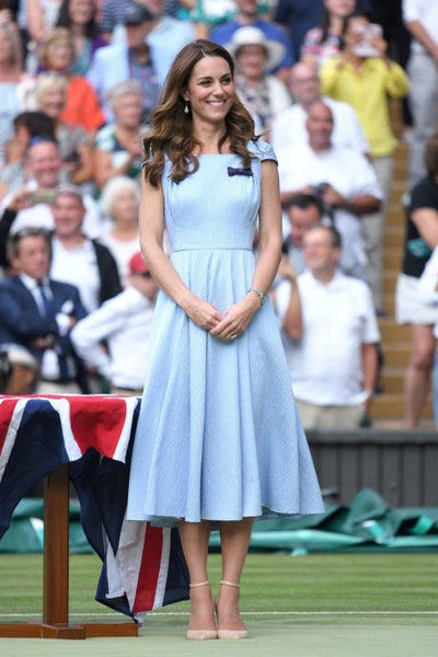 Kate Middleton Blue Dress Cap Sleeves Tea Sleeves Classic Prom Celebrity Dress Wimbledon Red Carpet