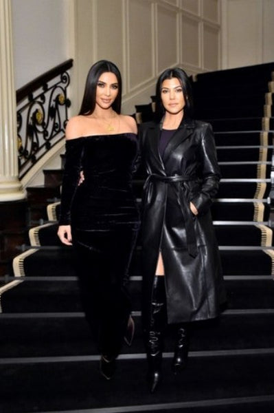 Kim Kardashian Velvet Dress Black Figure-hugging Long Sleeves Prom Ball Gown Celebrity Dress