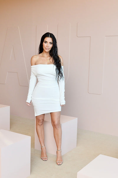 Kim Kardashian Wrap Dress White Off the shoulder Short Prom Outfit KKW Beauty Launch Celebrity Dress
