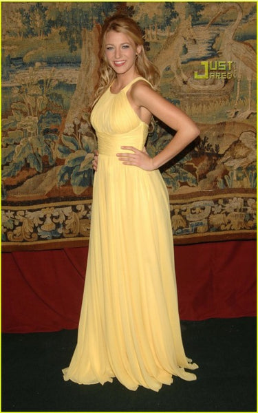 Blake Lively Yellow Dress Pleated Straps Cocktail Gowns 69th Regiment Armory Red Carpet Dress