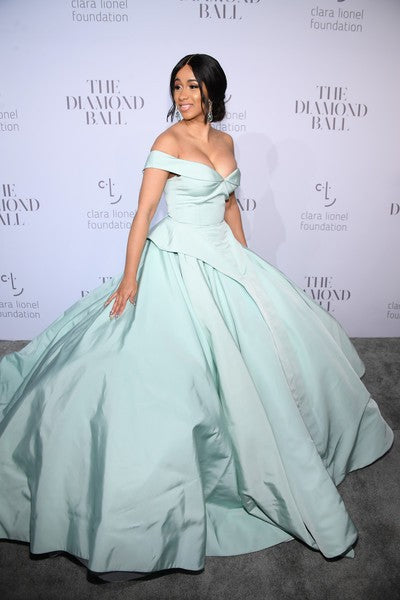Cardi B satin Dress Blue Prom  Off The Shoulder Gown Diamond Ball Celebrity Formal Dress