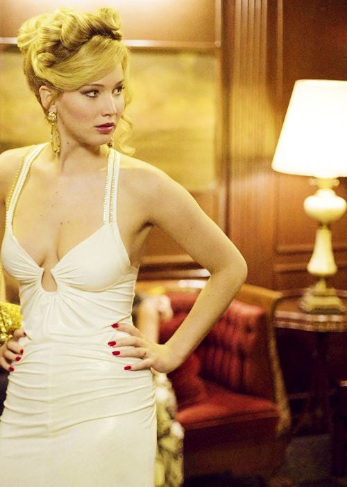Jennifer Lawrence Sheath Dress White Multiline Back American Hustle Celebrity Formal Prom Dress