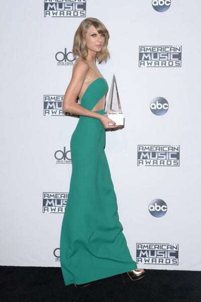 Taylor Swift Sheath Dress Green Crop Top Nude Back Prom Gown Celebrity Dress AMA