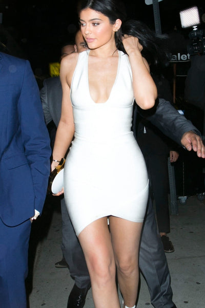 Kylie Jenner White Dress Figure-hugging Prom Ball Gown Justin Bieber's AMAs Afterparty Celebrity Formal Dress