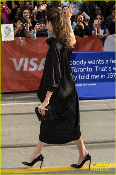 Angelina Jolie Asymmetrical Dress Black High Low 'First They Killed My Father' TIFF Premiere Red Carpet Celebrity Dress