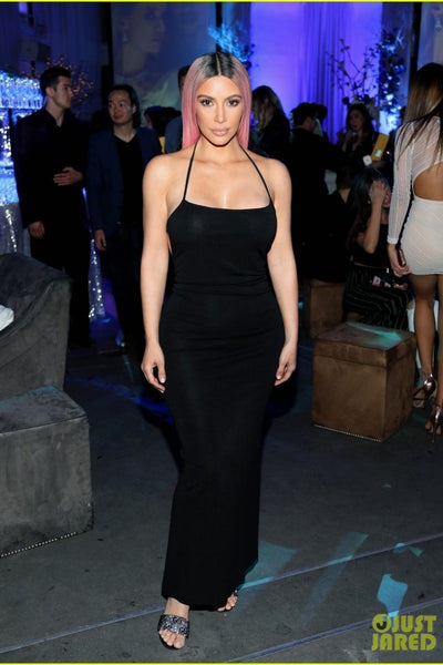 Kim Kardashian Black Dress Spaghetti Straps Halter Classic Prom Celebrity Gown Music Release Party Dress