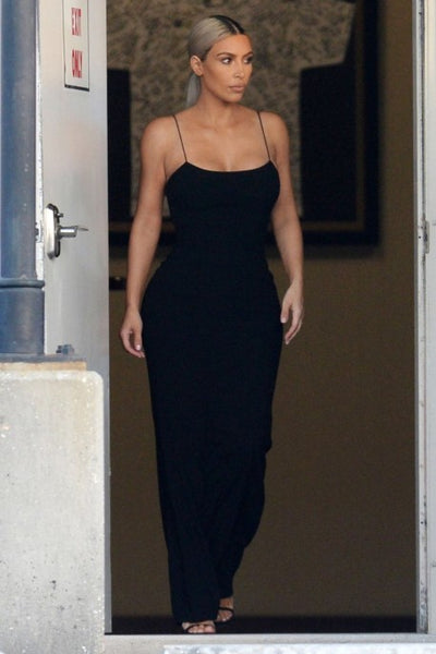 Kim Kardashian Black Dress Satin Open Back Spaghetti Straps Prom Serena Williams' Wedding Celebrity Dress