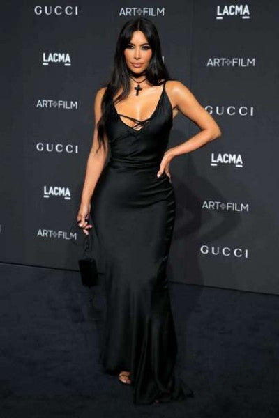 Kim Kardashian Satin Dress Black Lace-up Open Back Prom Gown LACMA Art+Film Gala Celebrity Dress