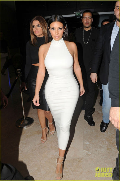 Kim Kardashian Tight Dress White Bodycon High Neck Sleeveless Prom Celebrity Dress 'Fleur Fatale'Red Carpet