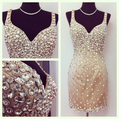Crystal Homecoming Dress with Straps Free Fast Shipping