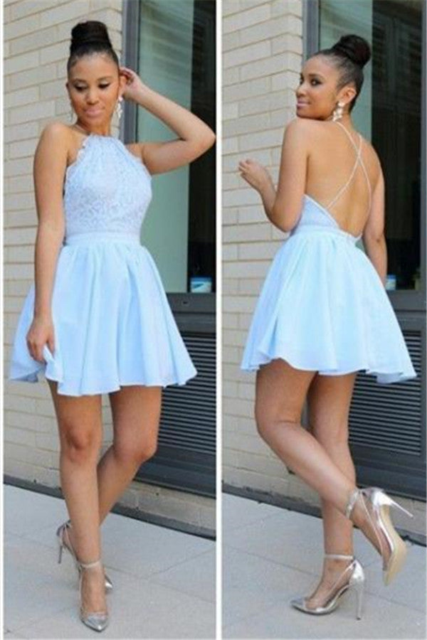 Halter Blue Homecoming Dress Lace Backless Homecoming Dresses Free