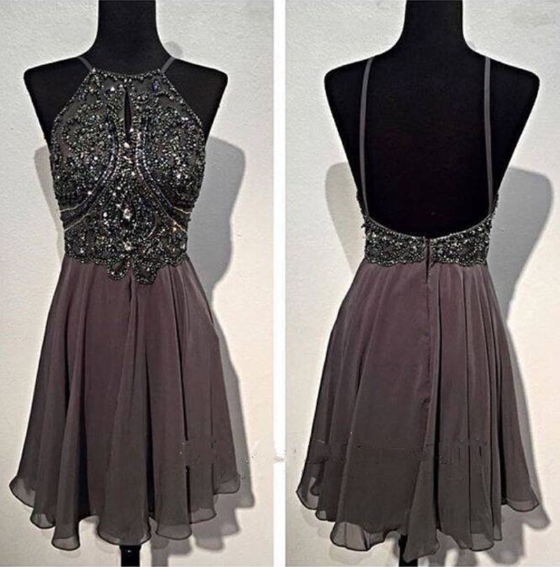 Grey Halter Beading Homecoming Dress
