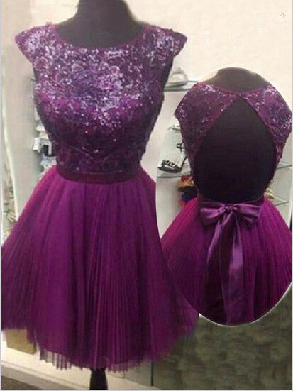Purple Homecoming Dress, Open Back Dress for Homecoming