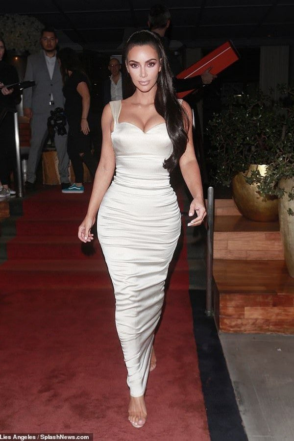 Kim Kardashian Tight Dress White Straps Empire Waist Prom Gown Gift Of Life Impact Award Celebrity Dress