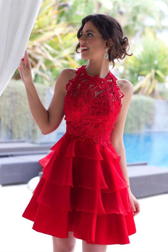 A Line Layers Red Lace Homecoming Dress Free Fast Shipping