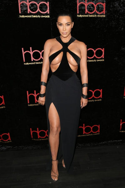 Kim Kardashian Black Dress Figure-hugging Halter Sexy Prom Gown Thierry Mugler Hollywood Beauty Awards Celebrity Dress