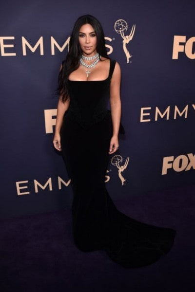 Kim Kardashian Velvet Dress Black Mermaid Square Neck Classic Prom Gown Emmys Red Carpet