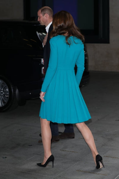 Kate Middleton Blue Dress Square Neck Long Sleeves Pleated Prom gown Celebrity formal outfit BBC Visit