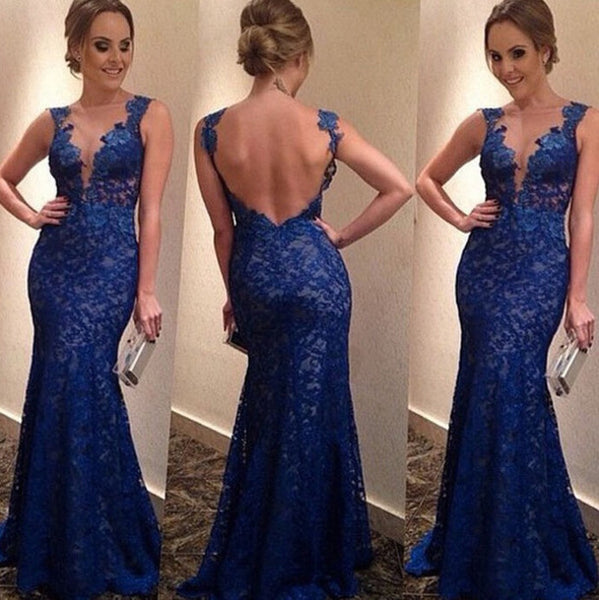 Blue Applique And Lace Prom Dresses