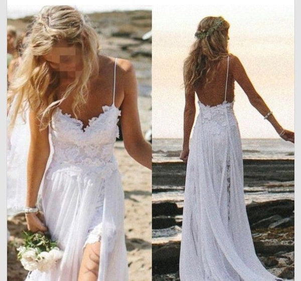 Lace Chiffon White Long Prom Dresses