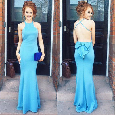 Blue Halter Satin Long Prom Dresses With Bow