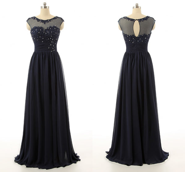 Cap Sleeve A-Line Navy Blue Prom Dresses