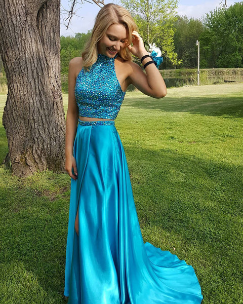Two Pieces High Neck Blue Prom Dresses