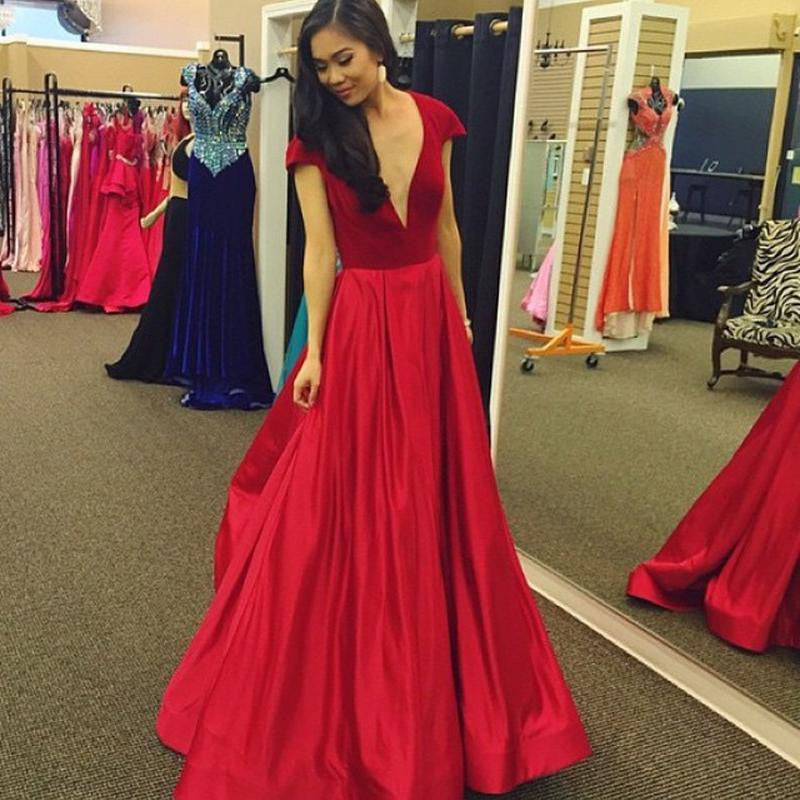 Cap Sleeve Deep V-Neck Prom Dresses