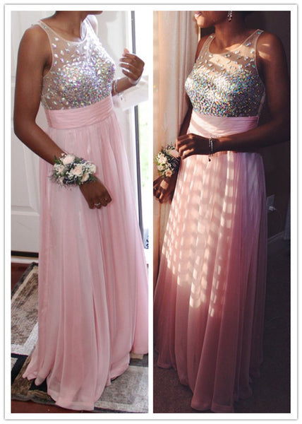 Crystal Beaded A-Line Chiffon Prom Dresses