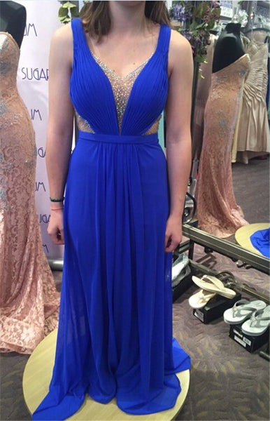 Royal Blue Chiffon Sleeveless Prom Dresses