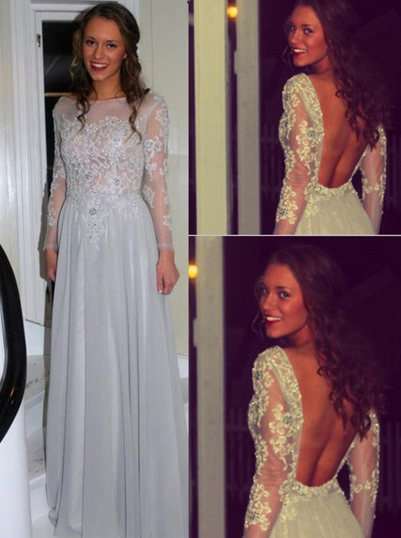 Long Sleeve Open Back Prom Dresses