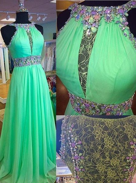 A-Line Lace Chiffon Beaded Prom Dresses