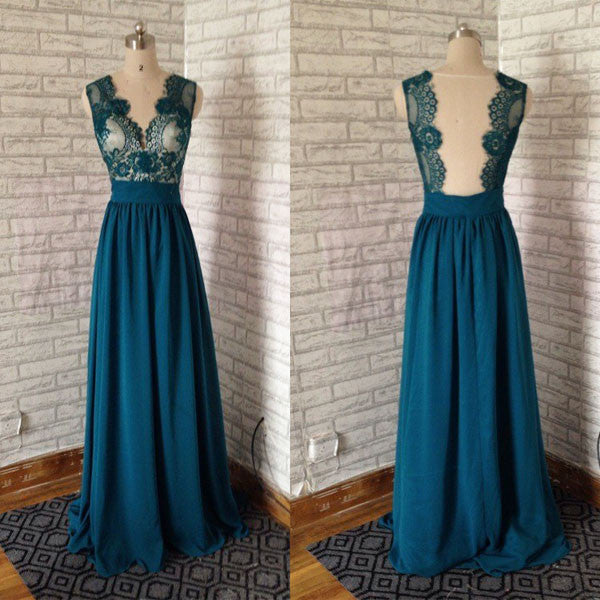 Green Top Lace Backless Prom Dresses