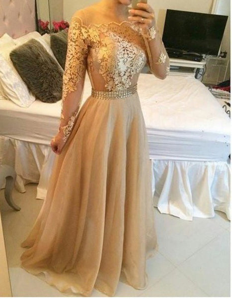 Gold Applique Long Sleeve Prom Dresses