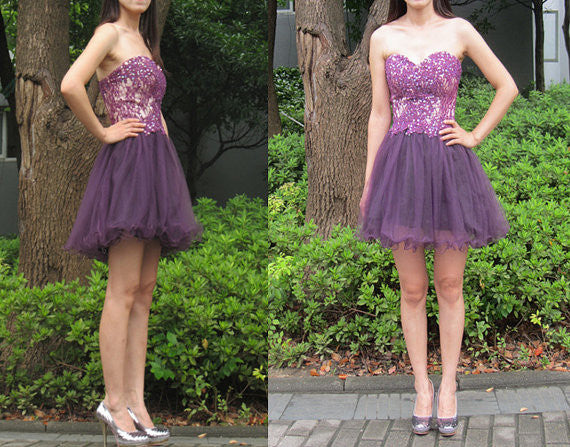 2017 Short Purple Homecoming Dress