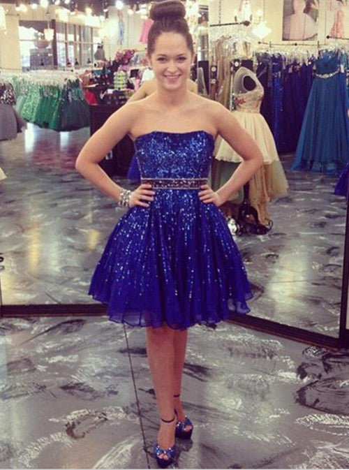 Sequins Blue Homecoming Dresses Sweet 16 Dress