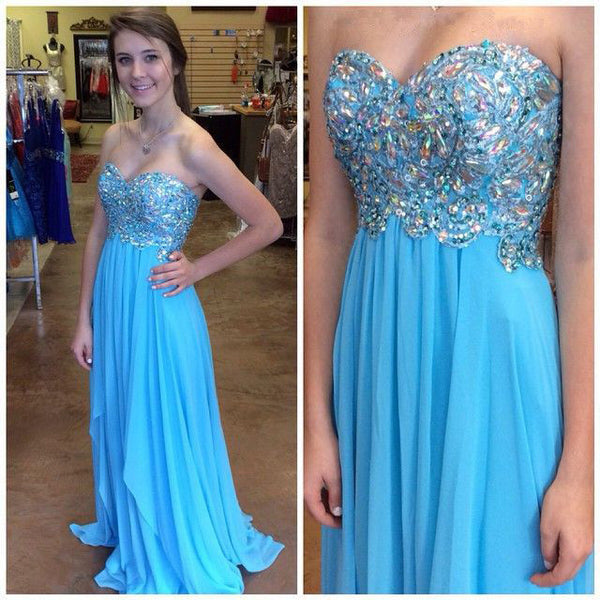 Sweetheart Blue Beading A-Line Prom Dresses