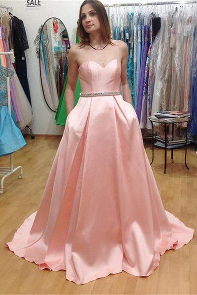 Sweetheart Satin Pink Long Prom Dresses