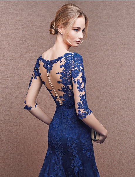 V-Neck Blue Lace Mermaid Long Prom Dresses