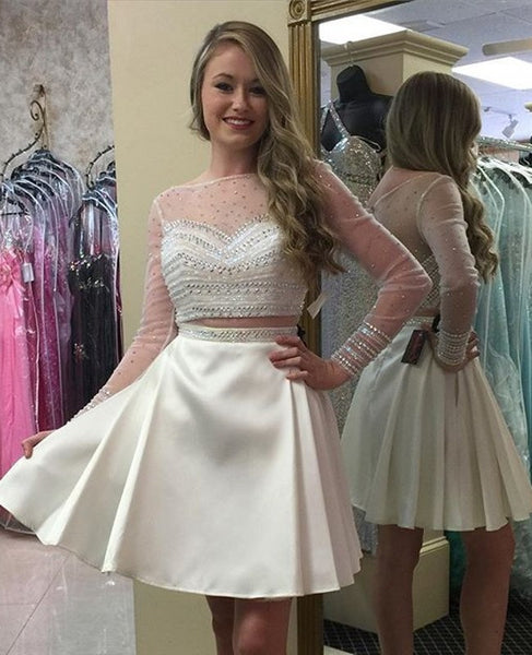 Long Sleeve Two Piece White Homecoming Dress