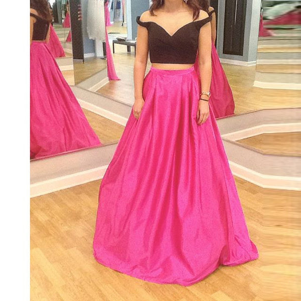 Two Piece Hot Pink Off Shoulder Prom Dressses