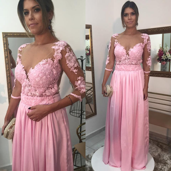 A-Line Pink Lace Long Sleeve Prom Dresses