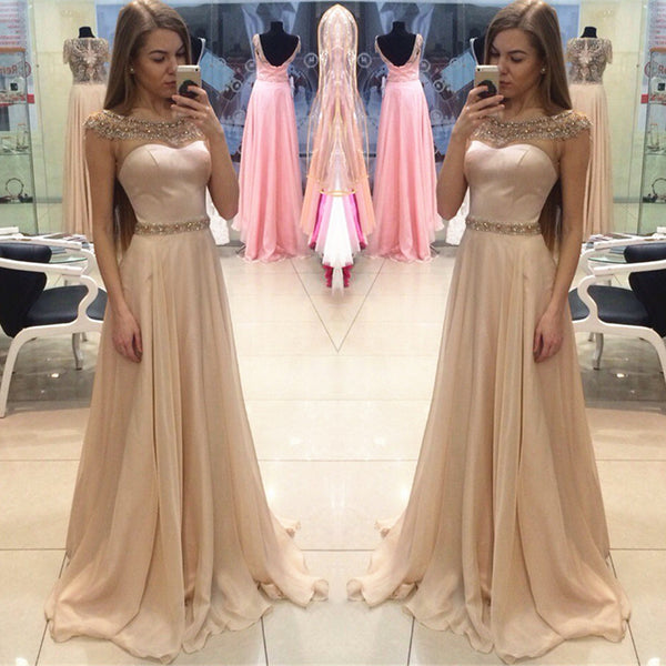 Off Shoulder Cap Sleeve Long Prom Dresses