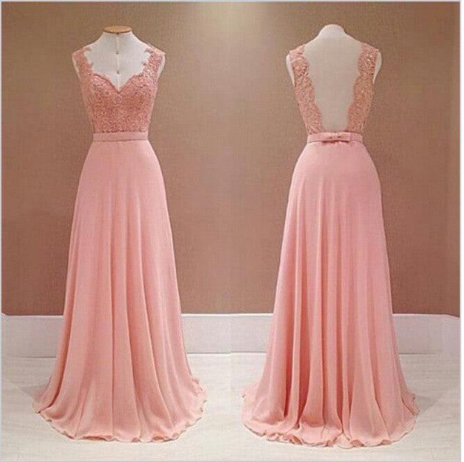 Pink Applique Sleeveless Long Prom Dresses